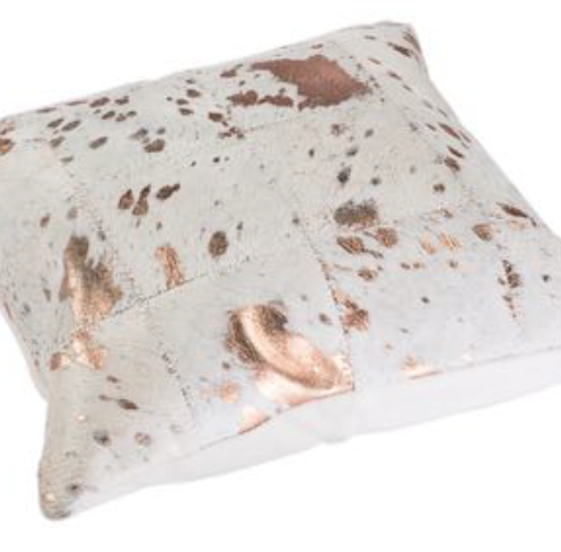 Metallic Cowhide Cushion - Bronze