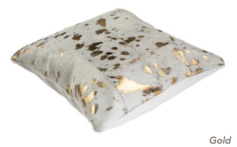 Metallic Cowhide Cushion - Gold