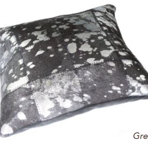 Metallic Cowhide Cushion - Pewter