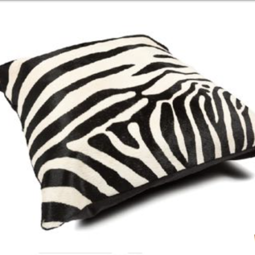 Cowhide Cushion Zebra Print - White