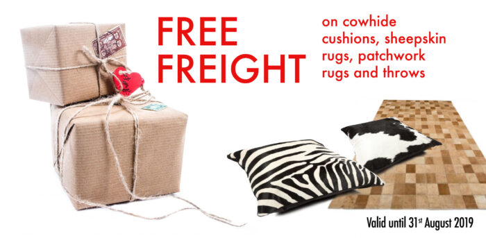 Free Freight on Cowhide Cushions, Sheepskin Rugs, Patchwork Rugs and Throws.